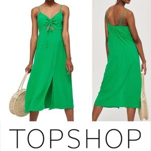 TOPSHOP Green Knit Front Molly Midi Dress • 14